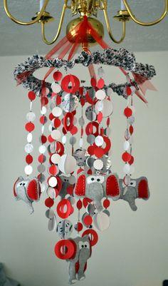 neutral gray baby nursery ideas   ... Elephants Mobile (Red/White/Gray) Nursery Decor Baby Shower Gift