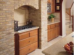 Kitchen oven in a brick enclave