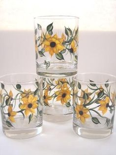 Sunflower Beverage Glass Set by Morningglories1 on Etsy $45.00