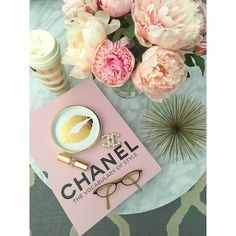 Chanel-book-style-flowers-glasses.jpg (683×911) ❤ liked on Polyvore featuring backgrounds and filler