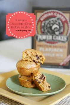 Pumpkin Chocolate Chip Muffins. This breakfast recipe is packed full of protein. Perfect on the go breakfast idea! www.mommyenvy.com