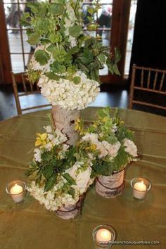 organic, garden-style arrangements in green+white