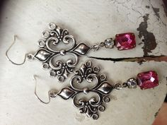 Fleur de lis antique silver with hot pink and Swarovski crystal $28