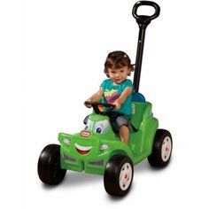 A ride on car that parents can push or pull! This adorable riding toy is perfect for trips around the block. The large tires roll smoothly and easily. The running boards make it simple for kids to get...