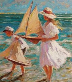Jose Orlando (1927-1998) Italian artist - Children at the beach