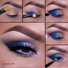Blauerliedschatten mit lila und fake lashes