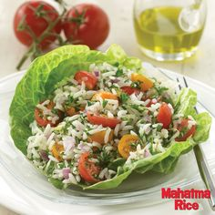 Delicious Parsley and Tomato Salad made with gluten-free Mahatma Rice.