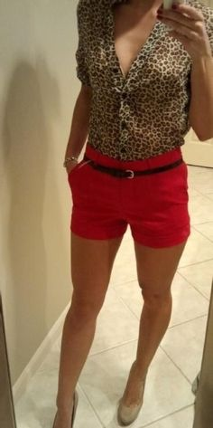 cheetah print blouse and red shorts