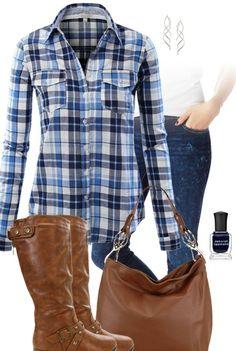 Plaid Shirt, Jeans, Boots