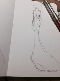 Dress Design Drawing, Dress Design Sketches, Fashion Design Sketchbook, Fashion Design Drawings, Art Sketchbook, Vintage Fashion Sketches, Fashion Drawing Tutorial, Fashion Model Drawing, Fashion Figure Drawing