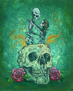 Amor Eterno by David Lozeau Skeleton Lovers in Skull Canvas...