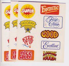 Vintage Gibson Sticker Lot Of 3 Sheets Teacher School Rewards Fancy Fun #Gibson