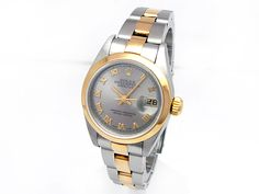 18k Yellow Gold and Stainless Steel. Silver Roman Numeral Dial. #79163