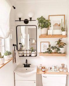Boho Bathroom, Chic Bathrooms, Simple Bathroom, Shiplap Bathroom, White Bathroom, Master Bathroom, Bathroom Goals, Plants In Bathroom, Small Bathroom Ideas
