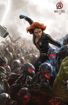 Black Widow Battles Ultron's Army. How many other Avengers do you see in this poster?