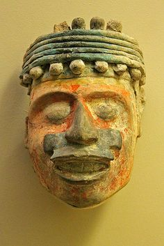 Aztec pottery head  (mexica) Red,blue and yelow `pigmented pottery sculpure Mexica,1300-1521 AD