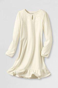 Girls' Long Sleeve Knit Sparkle Bodice Dress from Lands' End $12.99
