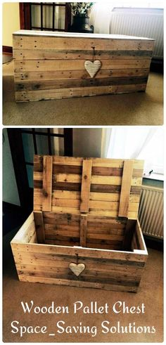 Pallet Projects Wooden Pallet Chest - Space-Saving Solutions - just select a custom design and just clone it with free pallet wood! Here this DIY pallet chest has been made which is all robust and is having precise Wooden Pallet Projects, Diy Pallet Furniture, Furniture Design, Furniture Ideas, Diy Projects With Pallets, Furniture Removal, Pallet Workbench Ideas, Furniture Stores, Pallet Diy Decor