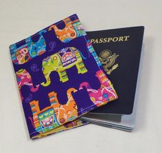 Fabric Passport Cover Case Holder by sugarcanetrain808 on Etsy