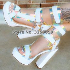 28e59a69e6c ALMUDENA Women Sexy Multi-Snakeskin Chunky Heel Sandals Platform Buckle  Strap Dress Shoes Fuchsia White