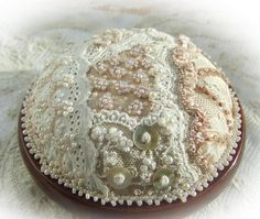vintage lace and pearls pin cushion by Lorna Bateman
