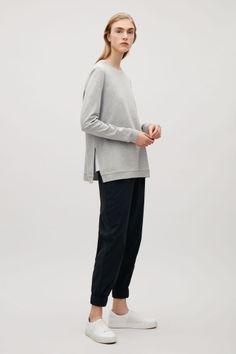 COS image 1 of Sweatshirt with rib shoulders in Grey