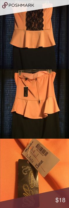 Mandee Strapless Dress Brand new (still has tags), never worn black and peach strapless dress. Size large. Can be dressed up or down! mandee Dresses Strapless