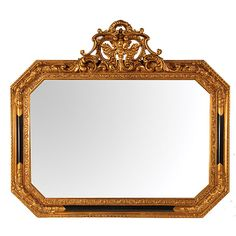 Victorian Gold Leafed Wall Mirror Ribbon Black accents Octagon