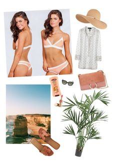 Beach essentials by siw-cathrine-braa on Polyvore featuring polyvore, fashion, style, Hermès, Chloé, Eugenia Kim, CÉLINE, Yves Saint Laurent, Hawaiian Tropic and Nearly Natural