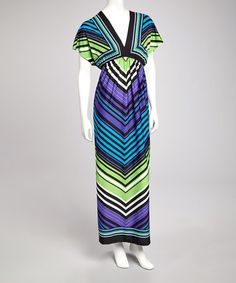Take a look at this Black Stripe Cape-Sleeve Maxi Dress by Bailey Blue on #zulily today!