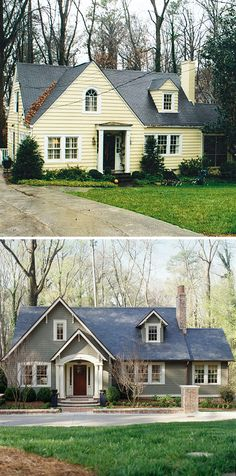 Home Remodeling Outdoor before and after curb appeal photos - Inspirational before and after landscaping and exterior home renovation photos. Architecture Renovation, Home Renovation, Home Remodeling, Exterior Renovation Before And After, Small House Renovation, Remodeling Contractors, Kitchen Renovations, Home Exterior Makeover, Exterior Remodel