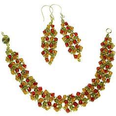 Fiesta Bracelet & Earrings pattern, FREE at AroundTheBeadingTable.com