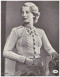 Knitting Pattern for Womens Tyrolean Cardigan / Vest / Jacket - 33 in bust 84 cm - Digital PDF Knitting Pattern for Womens Tyrolean Cardigan by Interbellum 1930s Fashion, Vintage Fashion, Vintage Patterns, Knitting Patterns, Pdf Patterns, Look Retro, Vest Pattern, Free Pattern, Mode Vintage
