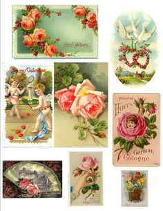 vintage post cards ... these are from the Victorian Trading Co! I LOVE that catalog/site! they have wonderful romantic items and I've always wanted the card on top with the roses...they always look so pretty to me...they even have these on return address labels!