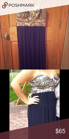 Homecoming dress Black long slimming dress, with a tan upper half with gray sparkles and sheer cut outs. Dresses Prom