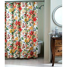 @Overstock - This beautiful shower curtain has a stunning floral pattern that's sure to add a bright accent to any bathroom decor.