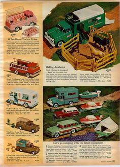 1968 ADVERT Nylint Buddy L Structo Toy Truck Tonka Mobile Home Dump Jeep Gradall