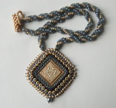 Ghost - Bead Embroidery Pendant and Spiral Rope Necklace on Etsy, $90.00