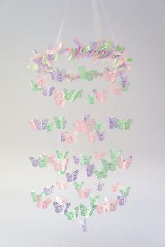 Pastel Nursery Mobile Decor Mint Lavender Pink by LovebugLullabies