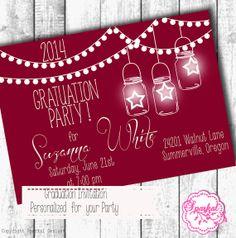 Graduation Party Invitation Burgandy Mason by SparkalDigitalDesign, $15.00