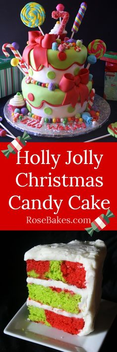 Holly Jolly Christmas Candy Cake RoseBakes