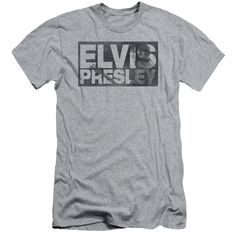 ELVIS/BLOCK LETTERS-S/S ADULT 30/1-ATHLETIC HEATHER