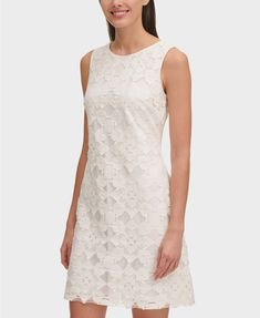 Tommy Hilfiger Burnout Lace A-Line Dress - Ivory/Cream 18 Tommy Hilfiger, Lace A Line Dress, Dress Images, Easter Dress, Plus Size Activewear, Review Dresses, Petite Dresses, Jeans Dress, Spring Dresses