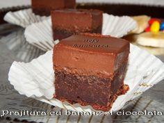 Este o prajitura foarte buna, care la mine in familie a primit foarte multe aprecieri, si… Chocolate Lovers, Something Sweet, Food And Drink, Sweets, Desserts, Cakes, Banana, Tailgate Desserts, Deserts