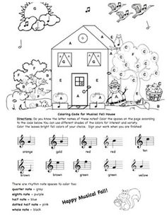Students will enjoy coloring this Musical Fall/Autumn House while learning and reviewing the note names in treble clef and basic note values. Students color spaces labeled with letters which correspond to notes on the treble staff. A coloring code sheet is included with notes on the treble staff and names of colors below the notes. Note values include: quarter note, eighth note, half note, dotted half note and whole note.