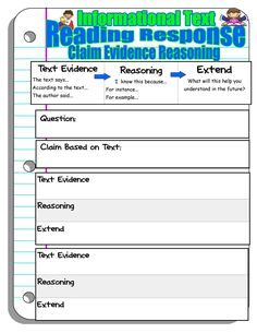 claim evidence reasoning reading response