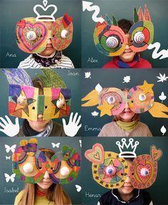 Mini Taller d& Carnaval - Diy For Kids, Crafts For Kids, Arts And Crafts, Cardboard Mask, Identity Art, Masks Art, Creative Play, Art Classroom, Art Club