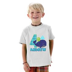 4 year old Blue the Whale Birthday Boy personalized Shirt by shirtsbynany on Etsy