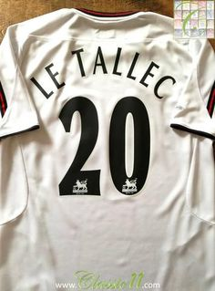 Official Reebok Liverpool away football shirt from the 2003/2004 season. Complete with Le Tallec #20 on the back of the shirt in Premier League lettering.