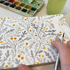 Grey and yellow Watercolor Pattern, Watercolor Illustration, Watercolour Painting, Watercolor Flowers, Painting & Drawing, Watercolors, Sketchbook Inspiration, Art Sketchbook, Painting Inspiration